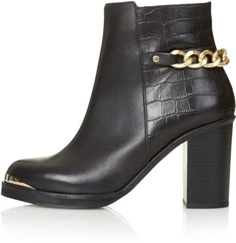 topshop merit heeled leather ankle boots in black lyst