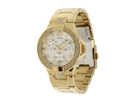 guess watches in gold gold bracelet gold with cry