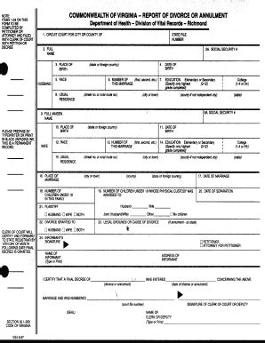 Va Divorce Records Vs4 Form Fill Printable Fillable Blank Pdffiller