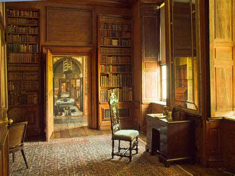 Mansion Interior the library and through the doorway a trompe de l oeil pa