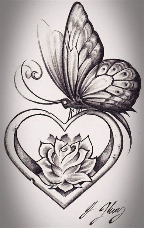 heart and flower tattoo designs get rid of the butterfly and i the flower inside the
