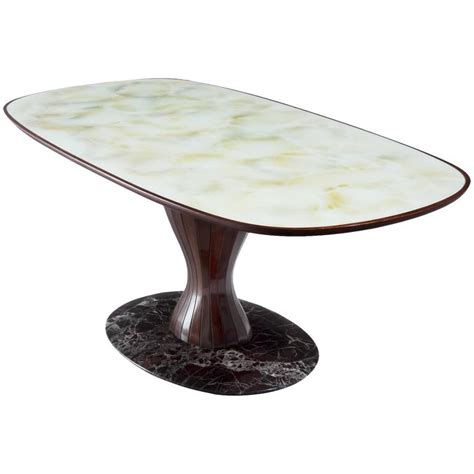 Marble And Glass Dining Table Italian Pedestal Dining Table In Wood Marble And Glass For Sale At 1stdibs