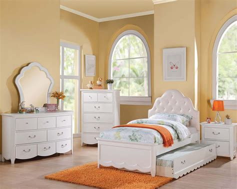 Girls White Bedroom Furniture Set | girl s white bedroom set cecilie in acme furniture ac30300set
