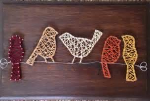 string art pattern bird vogels op een draad koord kunst teken deco head to and xmas