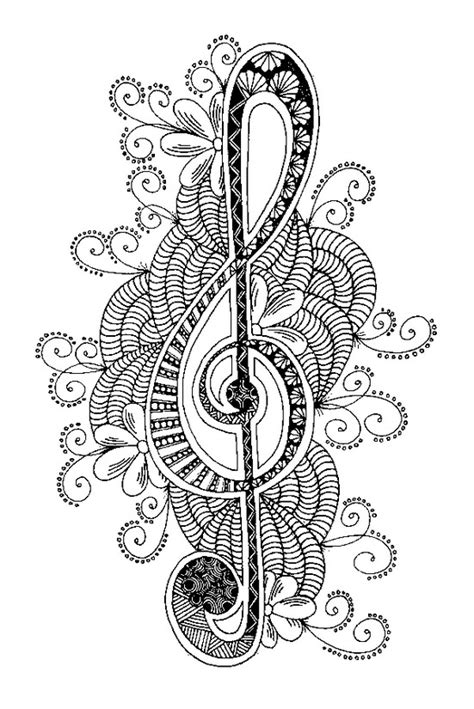 adult coloring page music treble clef 6