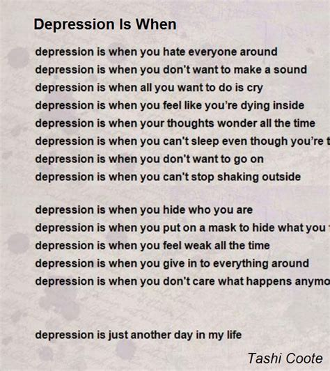 when is depression poems the mask images