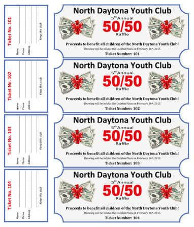 50 50 cash raffle ticket template for youth club