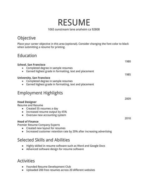 simple resume template free resume templates d theme the most simple format of resume