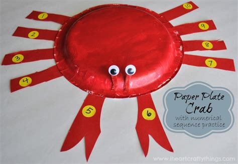 Things To Make With Paper Plates - paper plate crab craft with numerical sequence practice