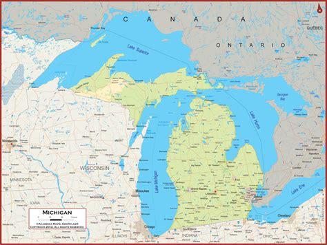 map michigan state michigan physical state map