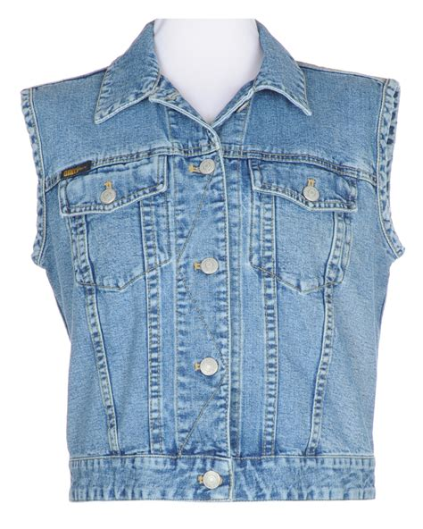 dkny sleeveless blue denim jacket l 90s rokit