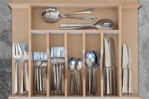 Kitchen Cabinet Inserts Organizers by Custom Wood Cutlery Drawer Organizer Wide Squared Away