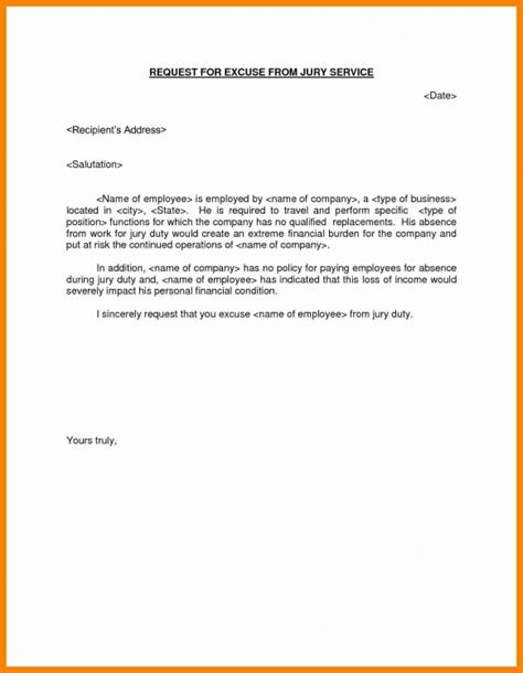 jury duty excuse letter template awesome and also attractive sle excuse duty letter
