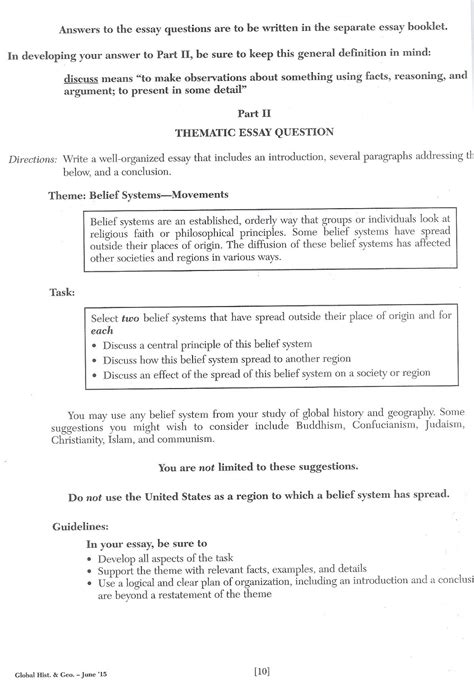 Thematic Essay On Belief Systems by Regents Essay Exles Resume Cv Cover Letter
