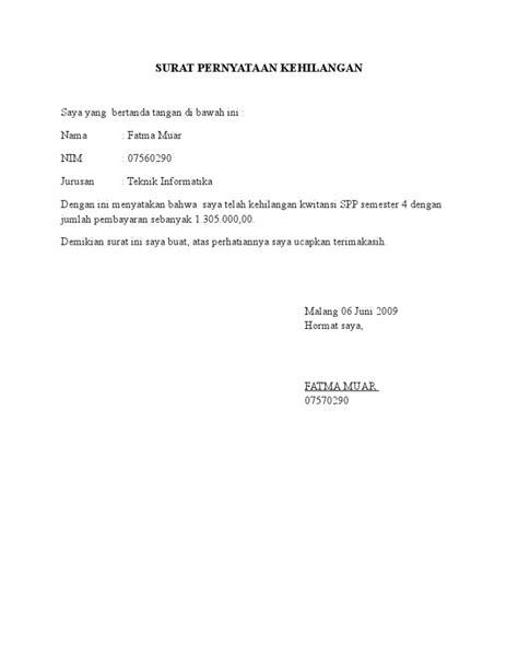 format surat pernyataan kehilangan askes surat pernyataan kehilangan