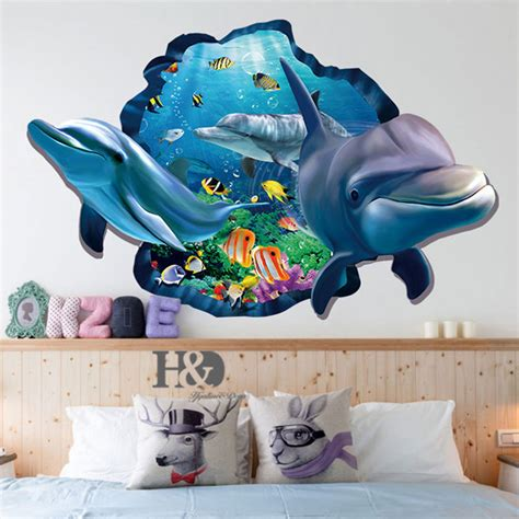 Wall Sticker 3d by 3d Dolphin Removable Vinyl Decal Wall Sticker