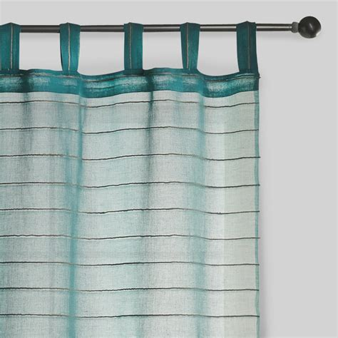 jute drapes blue striped sahaj jute curtains set of 2 world market