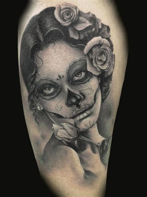 ladies skull tattoo designs black and white sugar skull tattoos