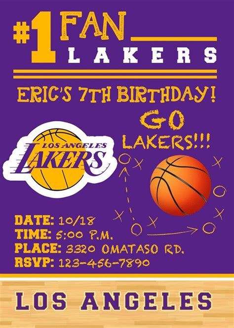 nba printable birthday invitations birthday invitations nba lakers party any by