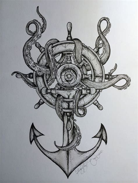 octopus and anchor drawing octopus amp anchor idea