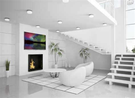white modern living room modern white interior of living room 3d render interior