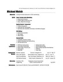 Cnc Machinist Sle Resume by Machinist Resume 2015
