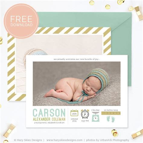 Free Birth Announcement Template by Free Birth Announcement Template Photoshop Photography