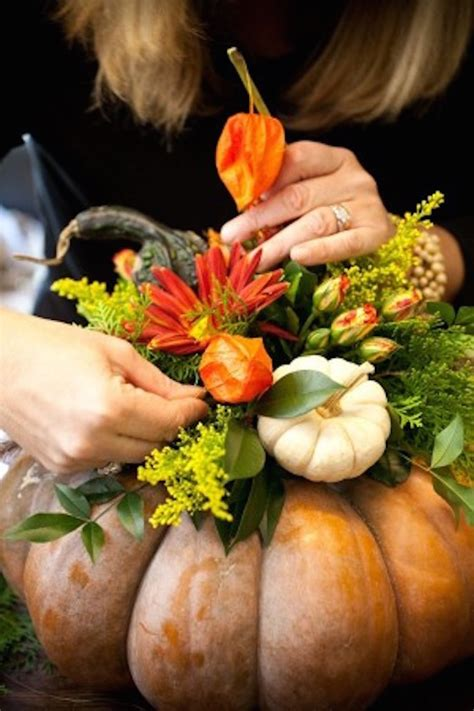 11 Stunning Fall Floral Arrangements With Pumpkins Gourds Pumpkin With Flowers Centerpieces
