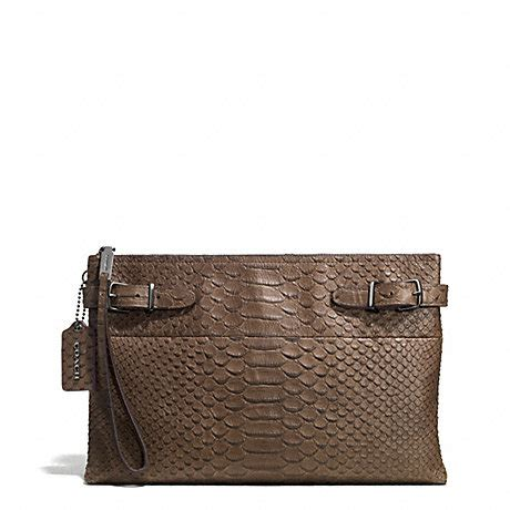 Koobas Antique And Ebany Mackenzie Embossed Clutches by Coach F52113 Large Borough Clutch In Python Embossed