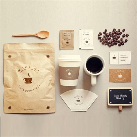 Coffee stationery mock up PSD file   Free Download