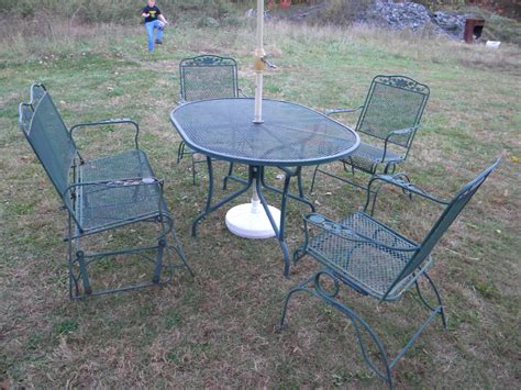 wrought iron mesh patio furniture 5 pc vintage 1970s wrought iron mesh metal outdoor