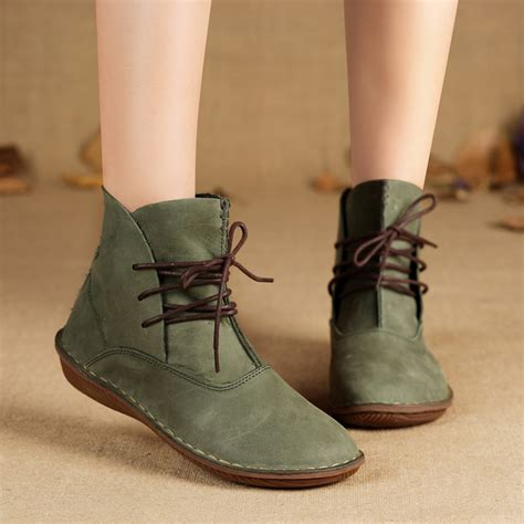 Handmade Leather Shoes Womens - aliexpress buy handmade boots genuine leather