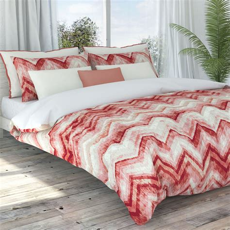 coral chevron comforter germain eco friendly coral chevron duvet cover set by colorfly