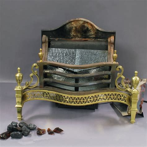 brass cast iron and glass fireplace insert sale number