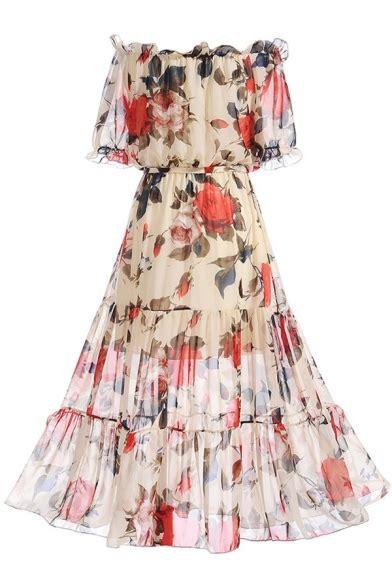 Shoulder Printed A Line Dress floral printed the shoulder sleeve maxi