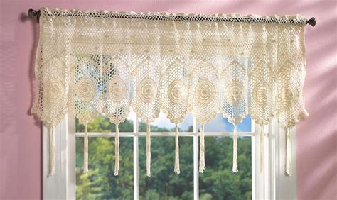 Crochet Valance Curtains White Crochet Tassel Fringe Lace Design Scallop Window Valance Curtain Crochet