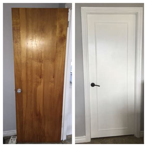 Painting Interior Wood Doors Updated Wood Doors To A Modern Look With Wood Trim Primer White Pearl Paint And New