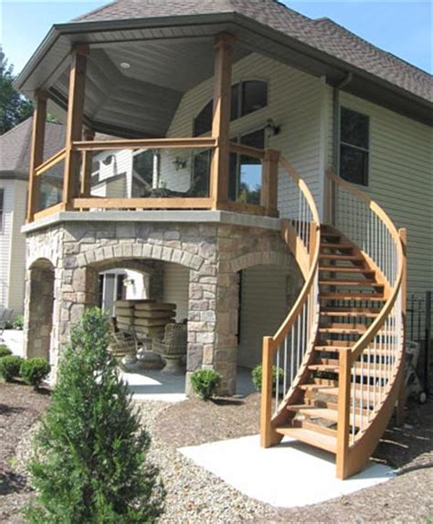 exterior staircase wood deck stairs