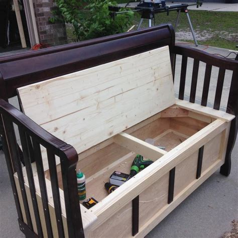 bed benches with storage diy bench from old door entry you have to see repurposed baby crib into storage bench by