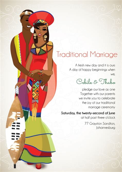 Traditional Wedding Invitation Cards by South Zulu Traditional Wedding Invitation Card