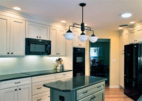 schoolhouse lighting used in traditional kitchen remodel