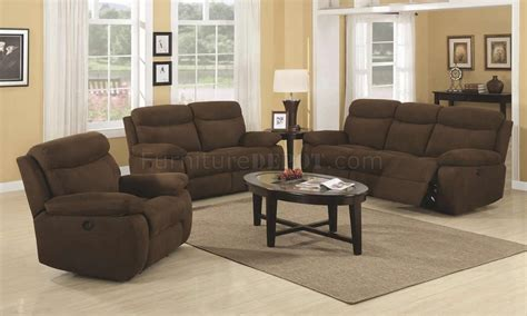 Brown Padded Microfiber Modern Motion Sofa Loveseat Set