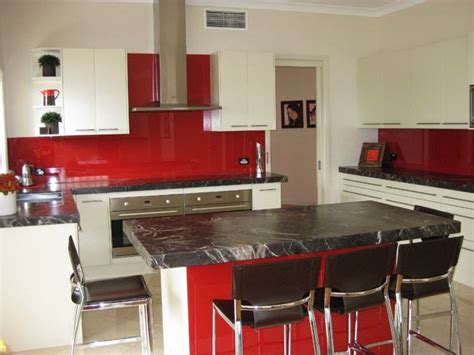 black splash kitchen red splash back with black benchtop island and white