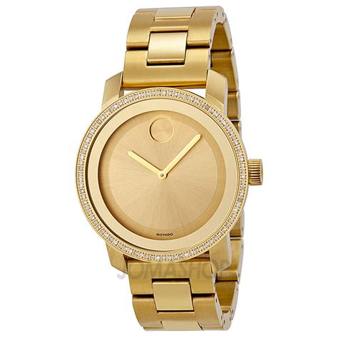 movado bold gold gold ion plated stainless