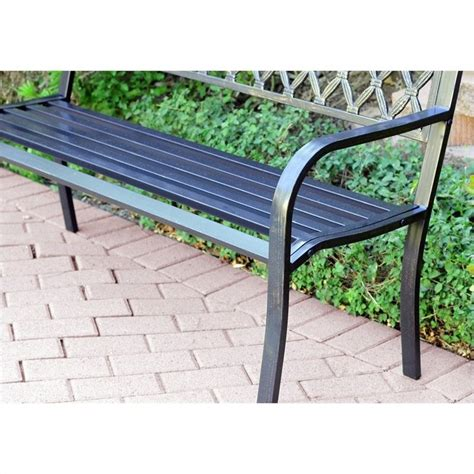 curved park bench jeco 50 quot w crossweave curved back steel park bench in black