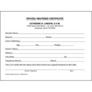 Veterinary Health Certificate Template Medical Arts Press 174 Vet Spayed Neutered Certificate