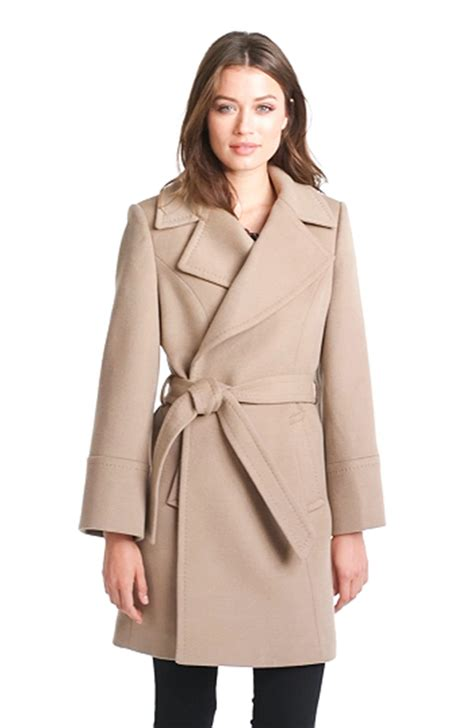Wool Blend Wrap Coat elie tahari chelsea wool blend wrap coat in brown taupe