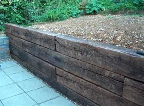 Sleeper Retaining Wall Ideas railway sleepers