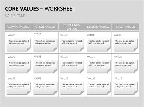 value card template company values templates