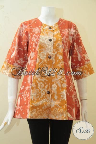 Blus Batik Kombinasi blus batik kombinasi dua motif batik kerja warna orange
